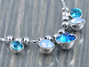 Swarovski Crystal Silver Sapphire Aquamarine Round Bubble Necklace