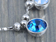 Load image into Gallery viewer, Swarovski Crystal Silver Sapphire Aquamarine Round Bubble Necklace