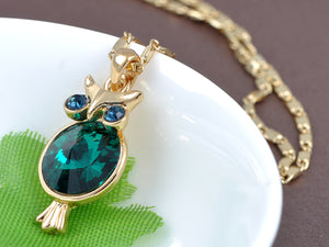 Swarovski Crystal Emerald Green Round Hoot Owl Body Blue Eyed Pendant Necklace