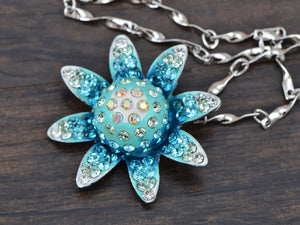 Light Blue Gradient Indicolite Blue Zircon Aquamarine Flower Pendant Necklace