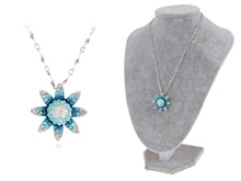 Load image into Gallery viewer, Light Blue Gradient Indicolite Blue Zircon Aquamarine Flower Pendant Necklace