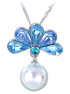 Swarovski Crystal Faux Pearl Light Blue Feather Peacock Pendant Necklace