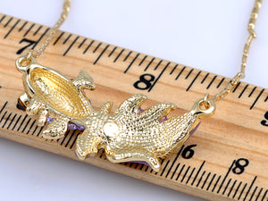 Violet T Adorned Fish With Enamel Tail Necklace