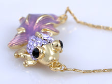 Load image into Gallery viewer, Violet T Adorned Fish With Enamel Tail Necklace