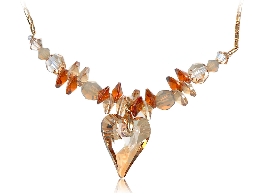 Indian Red Dangle Light Topaz Heart Necklace