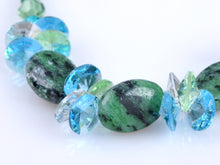 Load image into Gallery viewer, Green Blue Zircon Peridot Watermelon Beaded D Choker Necklace