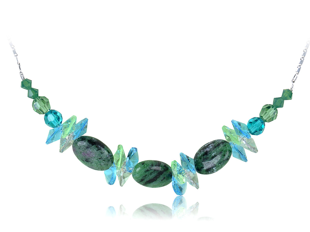 Green Blue Zircon Peridot Watermelon Beaded D Choker Necklace