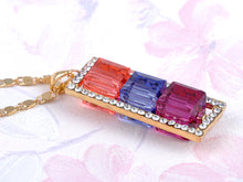Load image into Gallery viewer, Triple Stoplight Padparadscha Tanzanite Rose With Border Pendant