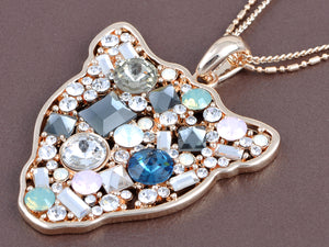 Swarovski Crystal Multicolor Embellished Cat Silhouette Face Pendant Necklace