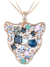 Load image into Gallery viewer, Swarovski Crystal Multicolor Embellished Cat Silhouette Face Pendant Necklace