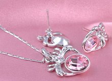 Load image into Gallery viewer, Swarovski Crystal Light Rose And Body Spider Pendant Necklace And Studs Set