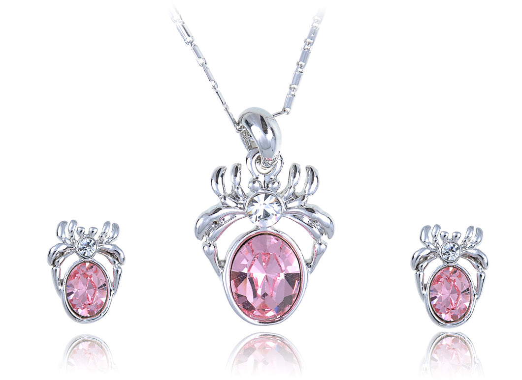 Swarovski Crystal Light Rose And Body Spider Pendant Necklace And Studs Set