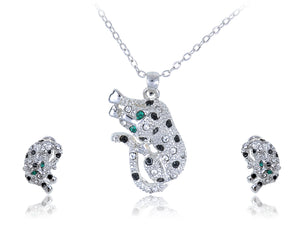 Swarovski Crystal Black And Spotted Leopard With Emerald Green Eyes Pendant And Studs Set