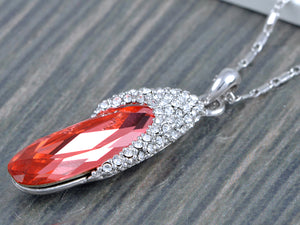 Swarovski Crystal Border With Oval Red Gems Pendant
