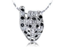 Load image into Gallery viewer, Swarovski Crystal Black And Spots Hanging On Leopard Pendant Necklace