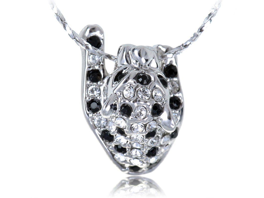 Swarovski Crystal Black And Spots Hanging On Leopard Pendant Necklace