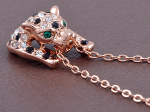 Swarovski Crystal Rose Gold D Emerald Green Eyed Cheetah Pendant Necklace