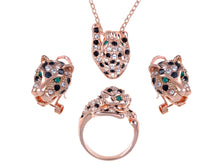 Load image into Gallery viewer, Swarovski Crystal Rose Gold D Emerald Green Eyed Cheetah Pendant Necklace