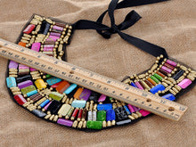 Load image into Gallery viewer, Black Tribal U Shaped Draped Multicolour Rainbow Beads Statement Necklace