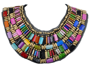 Black Tribal U Shaped Draped Multicolour Rainbow Beads Statement Necklace