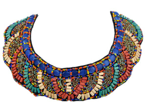 Tribal Colorful Beaded Bib Scallop Edge Statement Necklace