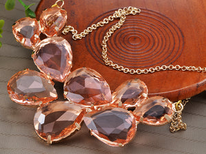 Rose Gold Champagne Teardrop Cluster Statement Bib Pendant Necklace