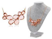 Load image into Gallery viewer, Rose Gold Champagne Teardrop Cluster Statement Bib Pendant Necklace