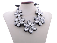 Load image into Gallery viewer, Black Satin Five Flowers Leather Backing Bib Necklace