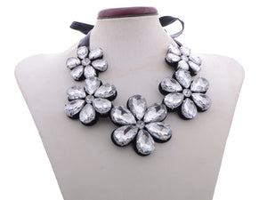 Black Satin Five Flowers Leather Backing Bib Necklace