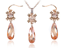 Load image into Gallery viewer, Swarovski Crystal Elements Topaz Burst Teardrop Cut Necklace Earring Set