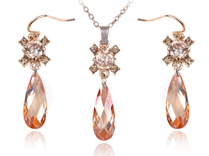 Swarovski Crystal Elements Topaz Burst Teardrop Cut Necklace Earring Set