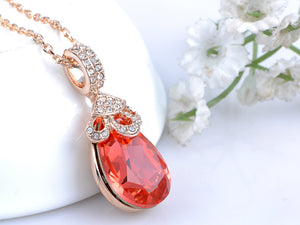 Swarovski Crystal Elements Padparadscha Teardrop Petite Pendant Necklace