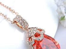 Load image into Gallery viewer, Swarovski Crystal Elements Padparadscha Teardrop Petite Pendant Necklace