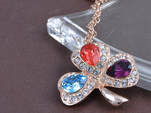Load image into Gallery viewer, Elements Colorful Lucky Three Leaf Clover Pendant Necklace