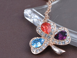 Elements Colorful Lucky Three Leaf Clover Pendant Necklace