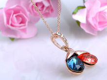Load image into Gallery viewer, Elements Petite Blue Coral A Pair Of Teardrop Pendant Necklace