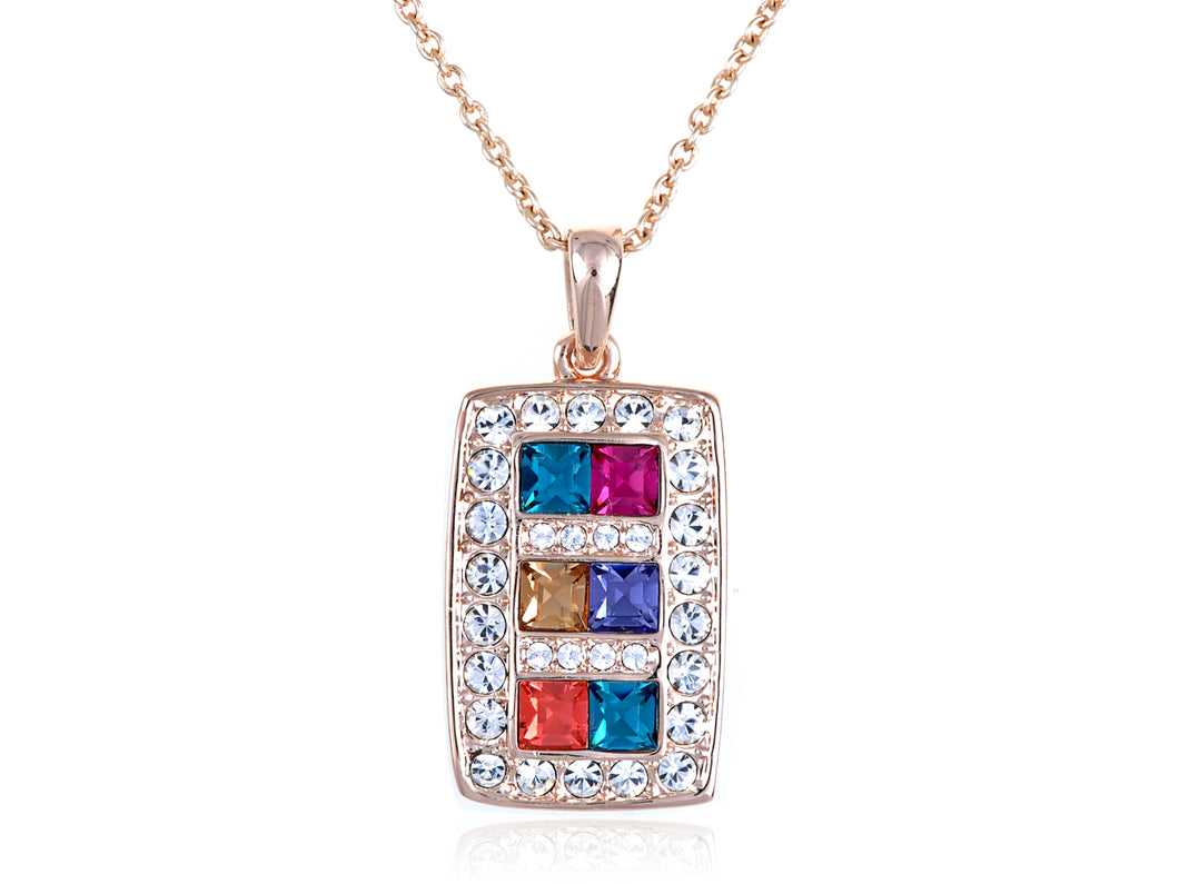 Multicolored Geometric Rectangle Square Pendant Necklace