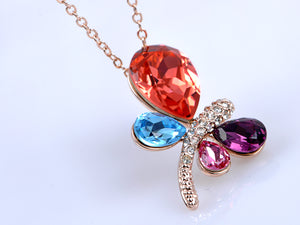 Swarovski Crystal Elements Petite Abstract Colorful Dragonfly Pendant Necklace