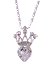 Load image into Gallery viewer, Swarovski Crystal Elements Petite Heart Shaped Royalty Crown Pendant Necklace