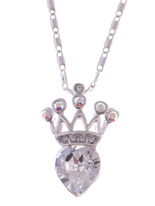 Swarovski Crystal Elements Petite Heart Shaped Royalty Crown Pendant Necklace