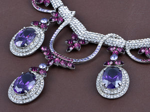 Elements Amethyst Victorian Drop Necklace Earring Set