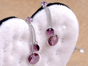Swarovski Crystal Elements Amethyst Purple Peacock Necklace Earring Set