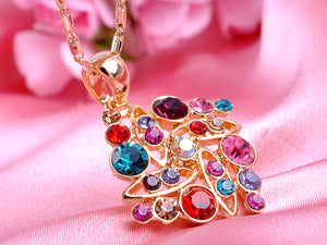 Swarovski Crystal Colorful Elements Square Shape Pendant Necklace