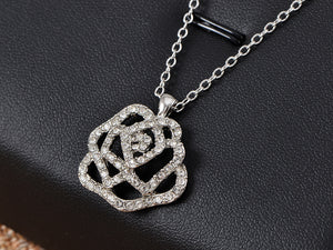 Swarovski Crystal Elements Rose Flower Manifest Love Necklace