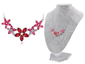 Swarovski Crystal Women's Fuchsia Elements Floral Necklace