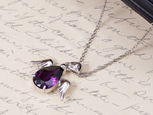 Load image into Gallery viewer, Swarovski Crystal Silver Angel Wings Dangling Purple Teardrop Pendant Necklace