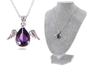 Swarovski Crystal Silver Angel Wings Dangling Purple Teardrop Pendant Necklace