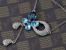Load image into Gallery viewer, Swarovski Crystal Silver Blue Teardrop Anniversary Necklace