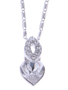 Swarovski Crystal Shadow Silver Elements Heart Necklace