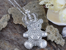 Load image into Gallery viewer, Swarovski Crystal Silver Elements King Teddy Bear Necklace